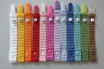 Süßes Schnullerband gehäkelt - alle Farbkombinationen möglich - Versandkosten im Preis inklusive (Kopie id: 53954)