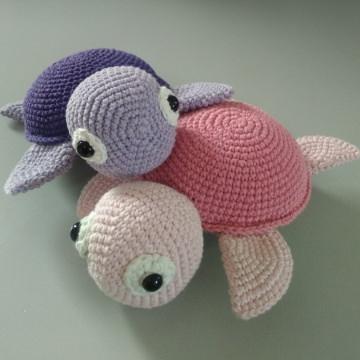 Süße Schildkröte gehäkelt - zum schmusen, kuscheln und lieb haben - 100% Baumwolle