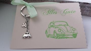 Kleiner Glücksbringer für eine Gute Fahrt Neues Auto Führerschein Schlüsselanhänger Rückspiegel Geschenk Frauen Männer