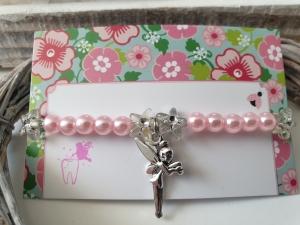 Geschenk von der Zahnfee Kinderarmband handgefertigt mit Fee Anhänger und Karte für Mädchen Geschenkset  - Handarbeit kaufen