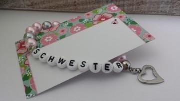 Wunderschönes Schwester Armband handgefertigt mit besonderen Herzanhänger aus Edelstahl Geschenk zur Erinnerung - Handarbeit kaufen
