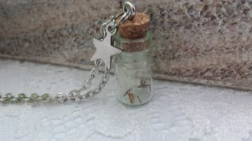 Echte Pusteblumensamen im Glasfläschchen an einer silberfarbenen Kette handgefertigtes Schmuckstück zum Verschenken oder Selberbehalten