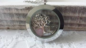Baum der Familie Glas Medaillon Kette mit Floating Charms Lebensbaum Herz Geschenk Familie Mama Oma