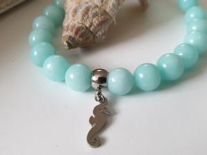 Seepferdchen Armband Seahorse handgefertigt mit Jadeperlen türkis Geschenk Frauen Mädchen Freundin Sommer - Handarbeit kaufen