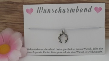 Wunscharmband Hufeisen handgefertigtes Bändchen-Armband mit einem Hufeisenanhänger für einen Herzenswunsch
