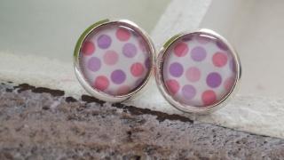 Fröhliche bunte Punkte Ohrstecker Glascabochon 10 mm bringen sicher gute Laune Geschenk für Frauen Mädchen - Handarbeit kaufen