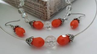 Schmuckset orange handgefertigt im Vintagestil mit Halsreif , Armband und  Ohrhängern  ein tolles Geschenk - Handarbeit kaufen