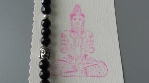Buddha Perlenarmband Onyx und Glasperlen Yoga Om Achtsamkeit Namaste handgefertigt mit Geschenkkarte Geschenk für Frauen
