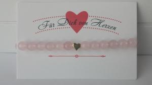 Rosenquarz Armband mit vergoldeter Herzperle handgefertigt  Für Dich von Herzen schönes Geschenk mit Kärtchen