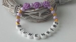 Allerliebstes Armband für das Blumenkind zur Hochzeit lila gold handgefertigt Kinderarmband als Geschenk für Blumenmädchen Blumen streuen - Handarbeit kaufen