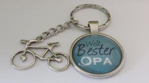 Opa für den WELT BESTEN OPA  handgefertigter toller Glascabochonanhänger mit hübschen Metallanhängern als Dankeschön-Geschenk