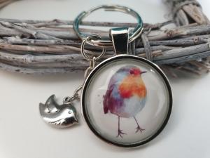 Rotkehlchen Schlüsselanhänger Glascabochon handgefertigt mit Vogelanhänger Accessoire Geschenk Frauen Freundin Männer - Handarbeit kaufen