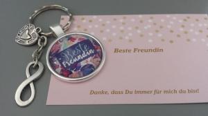 Beste Freundin Infinity Schlüsselanhänger Glascabochon Freundschaftsgeschenk Frauen Freundin Danke  - Handarbeit kaufen