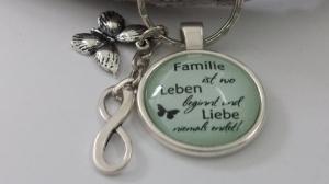 Spruch Familie Infinity Schlüsselanhänger Glascabochon handgefertigt Familienzusammenhalt Geschenk Mama Oma Schwester Tochter - Handarbeit kaufen