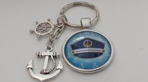 Schlüsselanhänger für den Kapitän Chef handgefertigt mit Anker Steuerrad tolles Geschenk für Männer Vatertag Bootstaufe