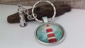 Leuchtturm Schlüsselanhänger Ahoi maritim handgefertigter Glascabochonanhänger mit Metallanhänger tolles Geschenk