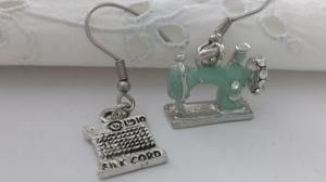 Tolle Nähmaschine Garnrolle Ohrhänger türkis handgefertigt Geschenk für Schneiderinnen Frauen Freundin  - Handarbeit kaufen