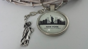 New York Amerika Schlüsselanhänger handgefertigt mit Metallanhänger Freiheitsstatue Geschenk Frauen Männer Abschied Schule Souvenir Städtereise - Handarbeit kaufen