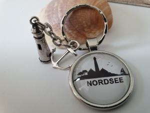 Nordsee Leuchtturm Schlüsselanhänger handgefertigt mit Metallanhänger Anker Geschenk Souvenir Frauen Männer  - Handarbeit kaufen