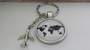Glücksbringer Guten Flug Weltreise Schlüsselanhänger Glascabochon handgefertigt mit Flugzeuganhänger Geschenk Frauen Männer - Handarbeit kaufen