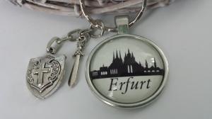 Erfurt Silhouetten Schlüsselanhänger handgefertigt mit Metallanhänger Ritterrüstung Accessoire Andenken Souvenir Mann Frau  - Handarbeit kaufen