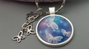 Schmetterlinge Schlüsselanhänger Butterfly handgefertigt mit drei Schmetterlingen aus Edelstahl Geschenk Frauen Freundin Trostspenden - Handarbeit kaufen