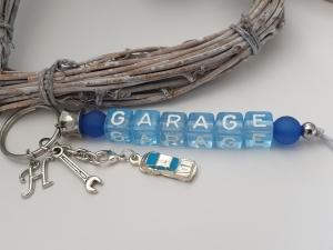 Garage Schlüsselanhänger personalisierbar mit Initialen Charms handgefertigt Anhänger Auto Geschenk Mann Freund - Handarbeit kaufen