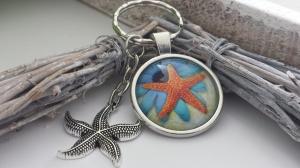 Seestern Schlüsselanhänger handgefertigt Glascabochonanhänger mit Seestern als Accessoire Urlaub Geschenk Frauen Freundin   - Handarbeit kaufen