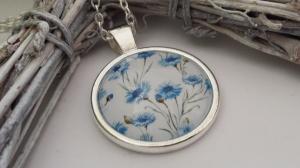 Kornblumen Kette Glascabochon blaue Blumen tolles Geschenk Geburtstag Dankeschön Frauen Freundin - Handarbeit kaufen