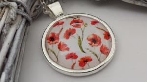 Mohnblumen Kette Glascabochon handgefertigt rote Blumen Geschenk Geburtstag Muttertag Dankeschön Frauen Freundin - Handarbeit kaufen