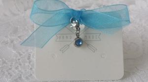 Etwas Blaues für die Braut Hochzeit wunderschöner Charms mit blauen Strass und Edelstahl Geschenk Hochzeit für die Braut  - Handarbeit kaufen