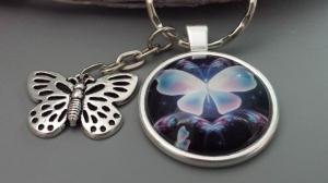 Schöner Schmetterling Schlüsselanhänger Glascabochonanhänger handgefertigt mit Metallanhänger Geschenk Frauen Freundin  - Handarbeit kaufen