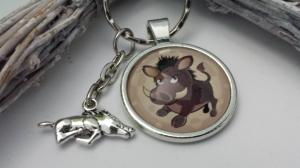 Wildschwein Wildsau Schlüsselanhänger Glascabochonanhänger mit Metallanhänger Geschenk Jäger Förster Glücksbringer Jagd - Handarbeit kaufen