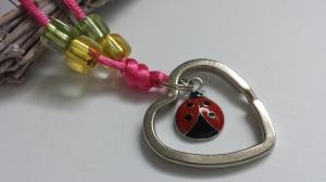 Niedliches Schlüsselband Marienkäfer für Schlüsselkinder handgefertigt Glückskäfer und Herzschlüsselring Geschenk Mädchen Schule Kindergeburtstag  - Handarbeit kaufen