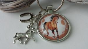Toller Pferde Hufeisen Schlüsselanhänger Glascabochon handgefertigt Reitsport Pferdeliebe Glücksbringer Geschenk Frauen Kinder - Handarbeit kaufen