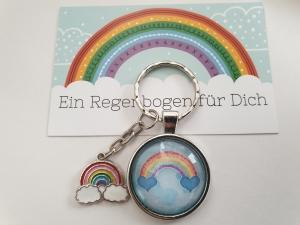 Regenbogen Rainbow Schlüsselanhänger Glascabochon Geschenkset Partner Frauen Kinder Abschied Kindergarten Schule Danke Erzieherin - Handarbeit kaufen