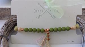 Anker Armband grün rosègoldfarben mit Quaste handgefertigt Geschenk Frauen Freundin Urlaub mit Schmuckkarte - Handarbeit kaufen