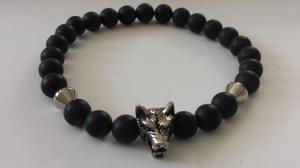 Wolf Armband Onyx für Männer handgefertigt Wolfskopf Edelstahl Geschenk Mann Freund Ostern Jahrestag - Handarbeit kaufen