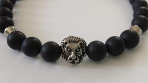 Löwen Männer Armband handgefertigt schwarz Achat Löwenkopf Edelstahl Geschenk Mann Freund Jahrestag - Handarbeit kaufen