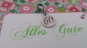 Kleines Geschenk zum 60.Geburtstag Charms Anhänger mit Zahl 60 aus Edelstahl Geschenk Hochzeitstag Jubiläum Frauen Männer - Handarbeit kaufen