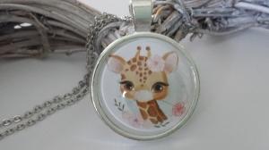 Giraffen Kette Glascabochon handgefertigt schönes Geschenk mit Tiermotiv für Mädchen Frauen Freundin - Handarbeit kaufen