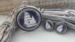 Maritimes Segelboot Schmuckset handgefertigter Glascabochonschmuck aus Edelstahl Geschenk Frauen Freundin Meer Segeln Strand - Handarbeit kaufen