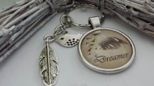 Dreamer Träumer Feder Vogel  Schlüsselanhänger Glascabochon handgefertigt Geschenk für Frauen Freundin Männer Freund - Handarbeit kaufen
