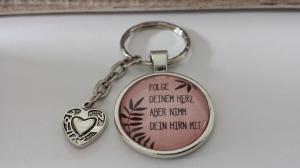 Witziger Spruch Text Schlüsselanhänger mit Herz Glascabochonanhänger handgefertigt Geschenk für Frauen Freundin Tochter - Handarbeit kaufen