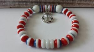 Maritimes Anker Perlenarmband blau-rot-weiß handgefertigt mit Ankeranhänger Geschenk Strandschmuck Frauen Freundin  - Handarbeit kaufen