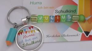 Personalisierbares Einschulungsgeschenk für Jungen Schlüsselanhänger Buchstabenperlen Glücksbringer zum 1.Schultag Geschenk Schulanfang