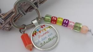 Personalisierbares Einschulungsgeschenk für Mädchen Schlüsselanhänger Buchstabenperlen Glücksbringer zum 1.Schultag Geschenk Schulanfang