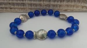 Fisch Armband blau handgefertigt Geschenk Frauen Freundin Mädchen Religion Glaube - Handarbeit kaufen