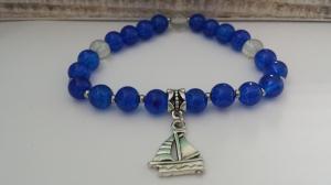 Maritimes Segelboot Armband blau handgefertigt Geschenk Strandschmuck Frauen Freundin Urlaubserinnerung  - Handarbeit kaufen