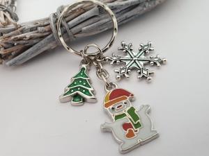 Schneemann Schneeflocken Schlüsselanhänger handgefertigt mit Metallanhängern Tannenbaum Geschenk Frauen Kinder Winter Weihnachten - Handarbeit kaufen